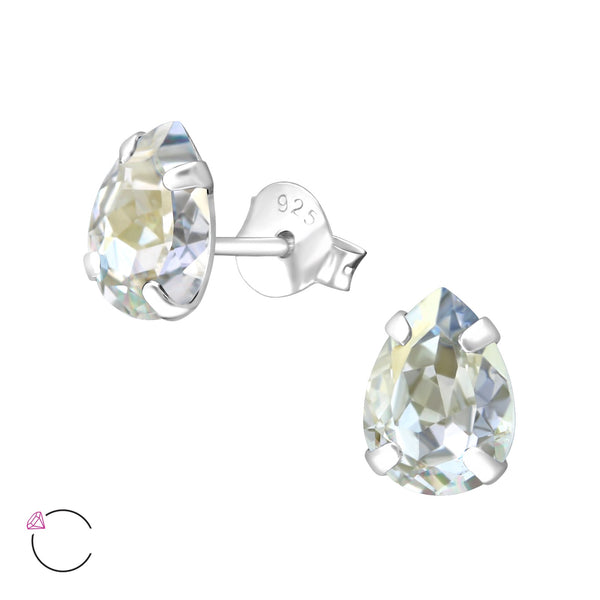 Pear Blue Crystal Claw Set Sterling Silver Studs