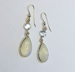 Blue Topaz Stud With Moonstone Teardrop Hooks