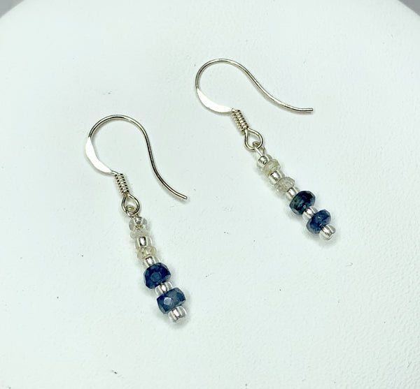 Faceted Rondelle Sapphire and Clear Quartz Sterling Silver Shepherd Hooks