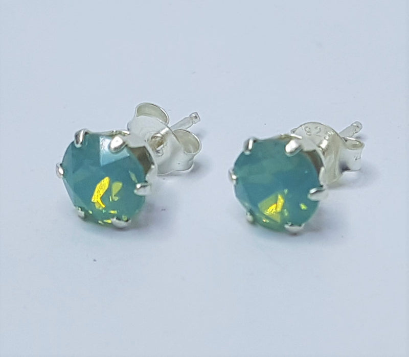 6mm Round Pacific Opal (Syn) Sterling Silver Studs