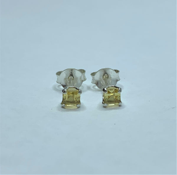 Citrine Square 3mm Sterling Silver Studs