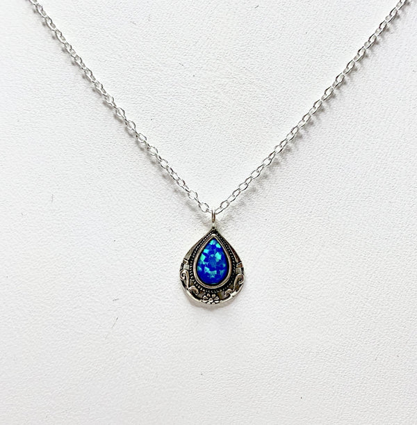 Sterling Silver Tear Drop Created Opal Pendant
