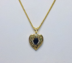 9ct Yellow Gold Sapphire and Diamond Filigree Heart Pendant