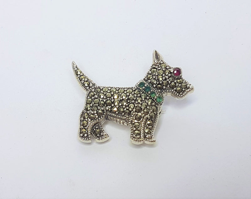 Marcasite Dog Sterling Silver Brooch