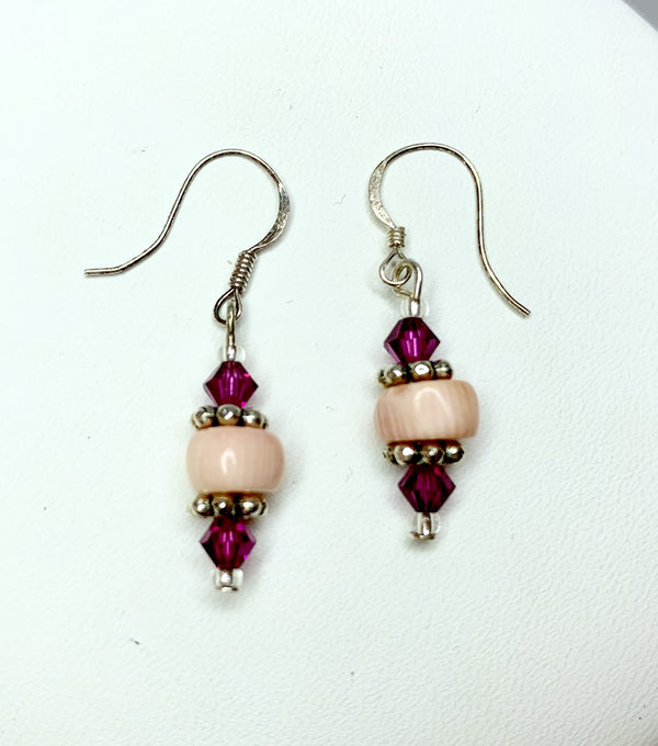 Rose Coral and Clear Bicone  Swarovski Crystal Sterling Silver Drops
