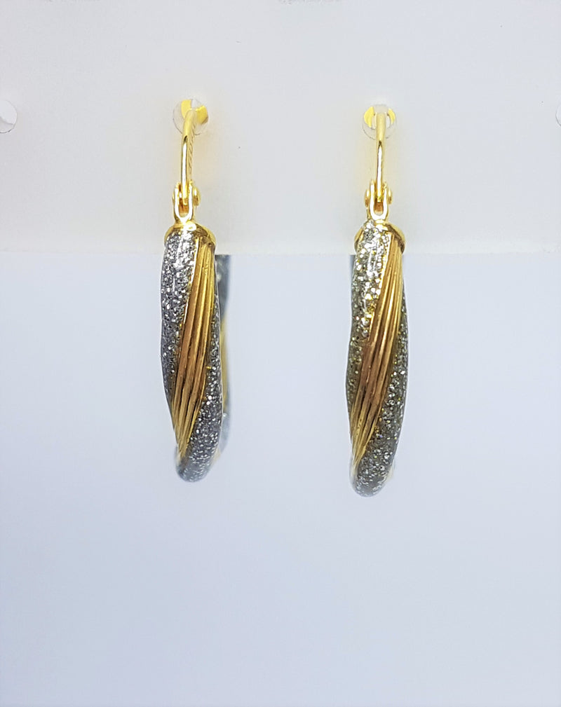 9ct Yellow Gold Silver Filled and Glitter Twist Hoops