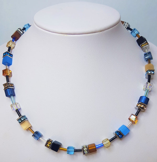 Blue/Brown Geo-Cube Necklace