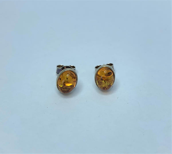 Oval Amber Sterling Silver Stud earrings