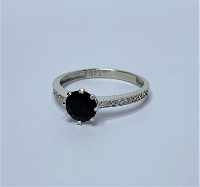 Round Sapphire and CZ Shoulder Sterling Silver Ring