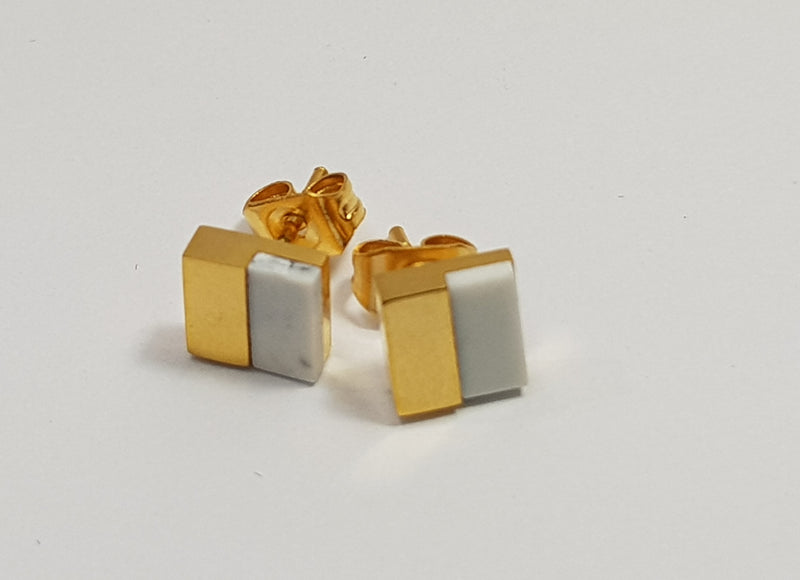 Square Howlite (Im) Yellow Gold Plate Studs