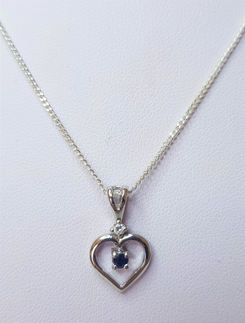 Round Sapphire And Cubic Zirconia Heart Sterling Silver Pendant