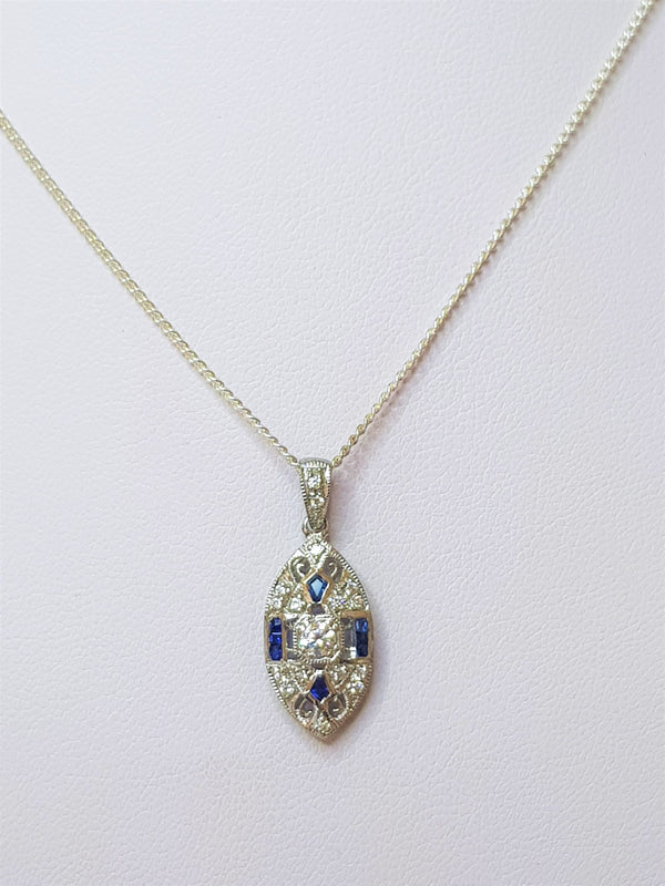 Sapphire and CZ Patterned Sterling Silver Pendant