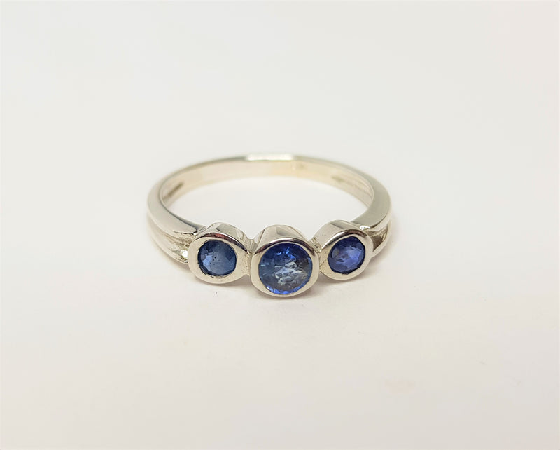 3 Sapphire Bezel Set Sterling Silver Ring