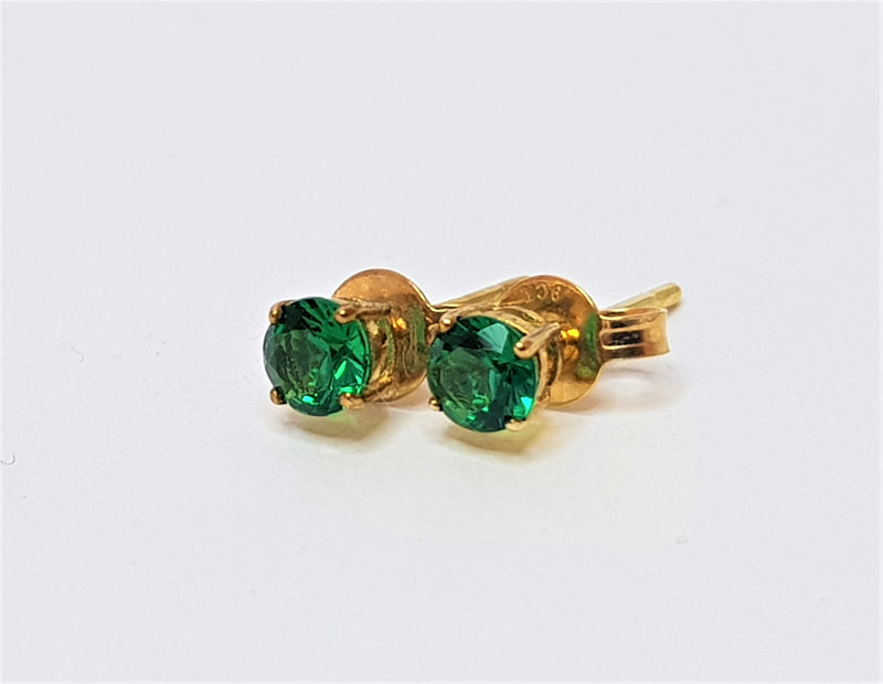 9ct Yellow Gold 4mm Round Cr Emerald Studs