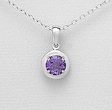 8mm Round Amethyst Claw Set Sterling Silver Pendant