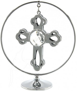 Crystal Mini Silver Cross Mobile