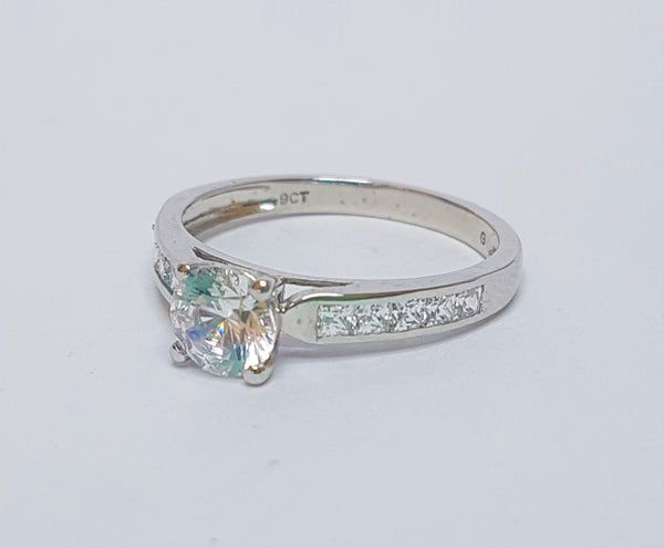 Brilliant Cut CZ with CZ Set Shoulder Sterling Silver Ring