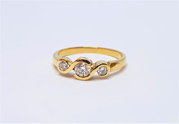 18ct Yellow Gold 3 Brilliant Diamond Swirl Engagement Ring