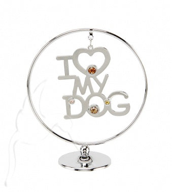 'I Love My Dog' Mobile Crystal and Silver