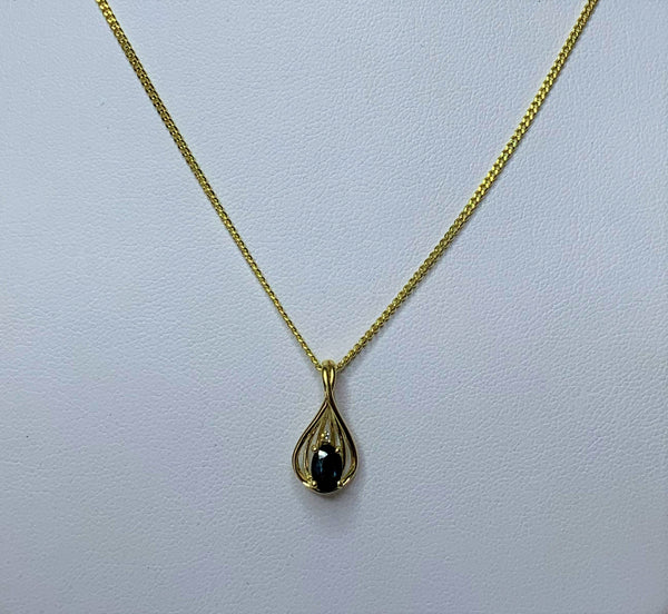 9ct Yellow Gold Oval Sapphire and Diamond Swirl Pendant