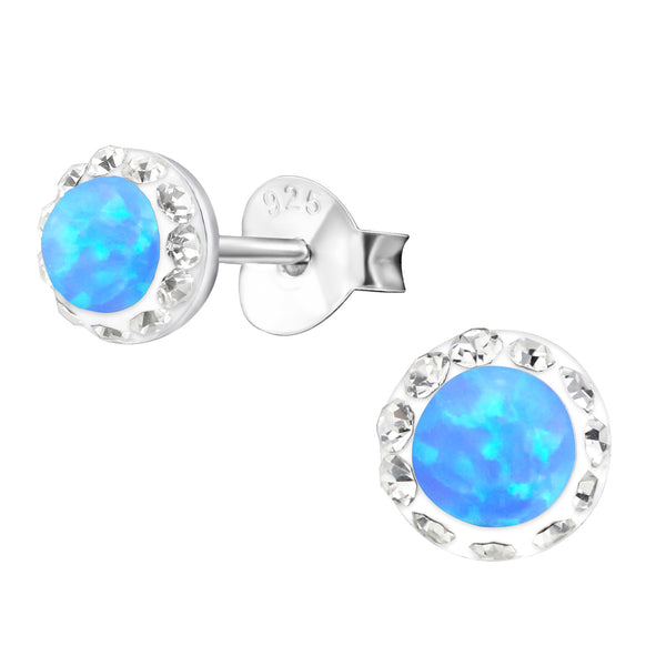 Azure Opal (Created) & Crystal Sterling Silver Studs