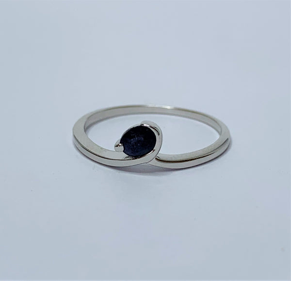 Oval Sapphire Swirl Sterling Silver Ring