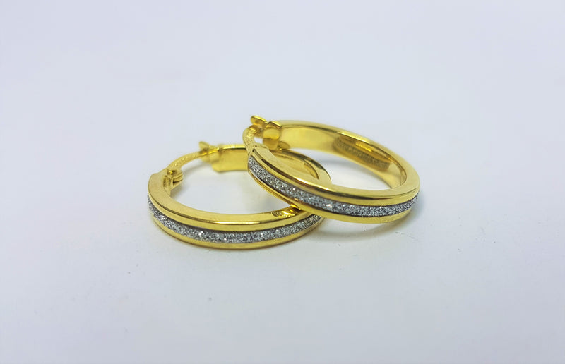 9ct Yellow Gold Rhodium Plate Centre Silver Filled Hoops