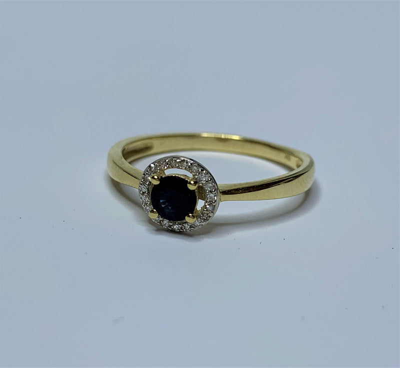 9ct Yellow Gold Round Sapphire and Diamond Halo Ring