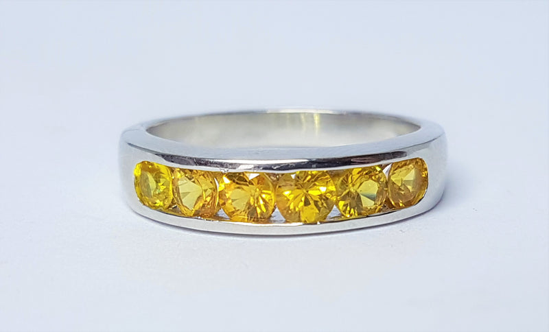 Bright Yellow Sapphire Sterling Silver Ring