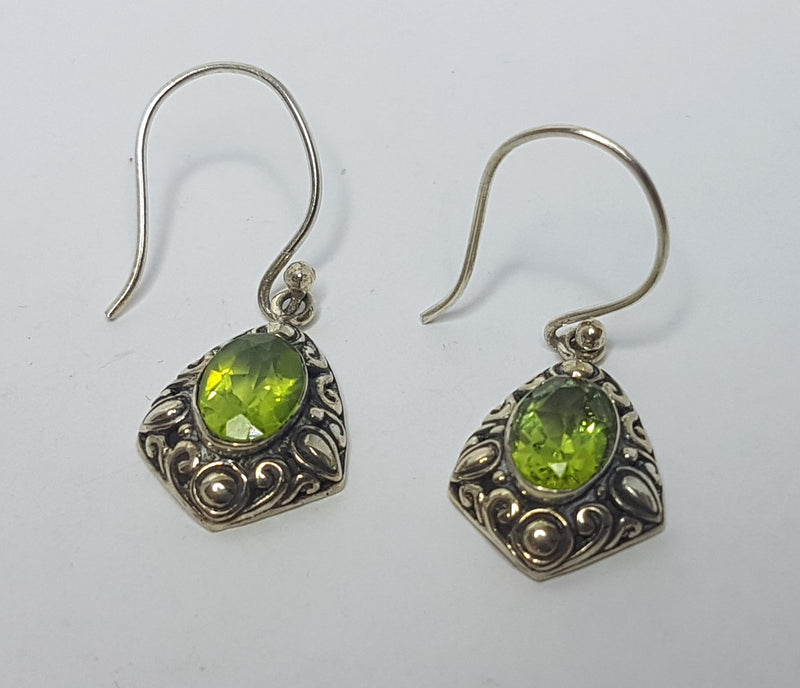 Peridot Oval Filigree Sterling Silver Hooks