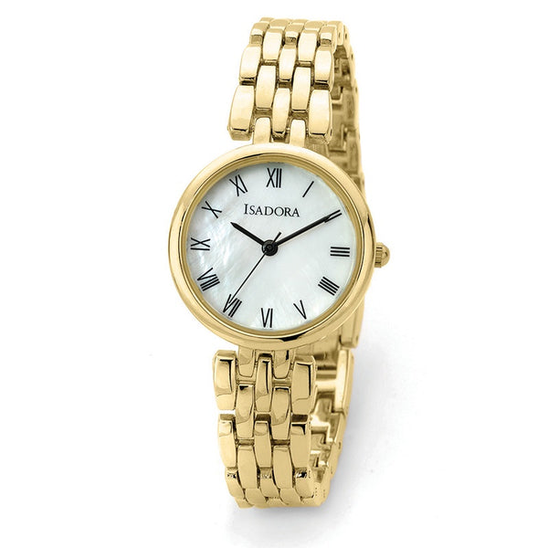 Alora by Isadora Mother of Pearl and Full Roman Figures Dial with Goldtone Bracelet Watch