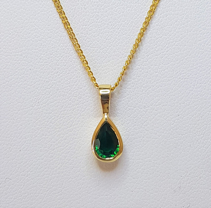 9ct Yellow Gold Pear Cr Emerald Pendant