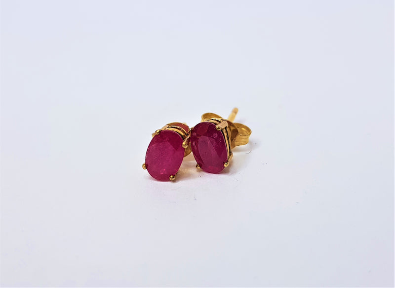 9ct Yellow Gold Oval Ruby Studs