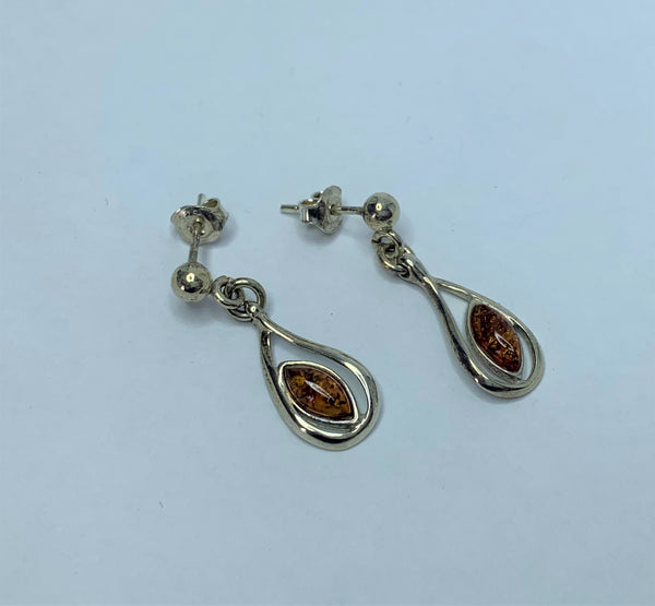 Oval Amber Sterling Silver Drop Hooks