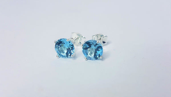 7mm Round Blue Topaz Sterling Silver Studs