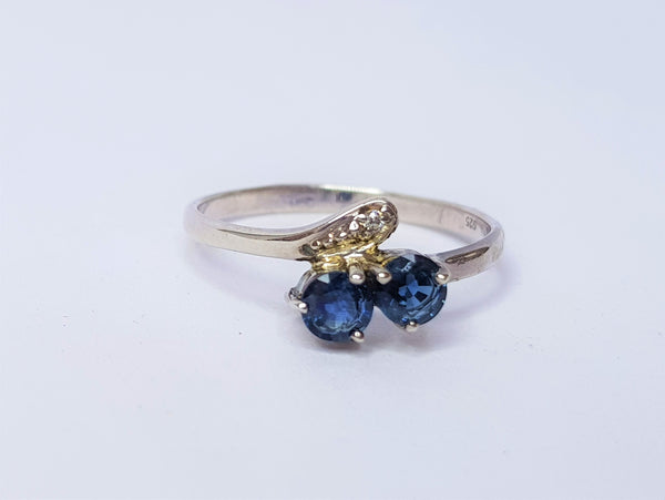 Sapphire and CZ Leaf Style Sterling Silver Ring