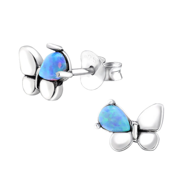 Azure Butterfly Created Opal Sterling Silver Studs