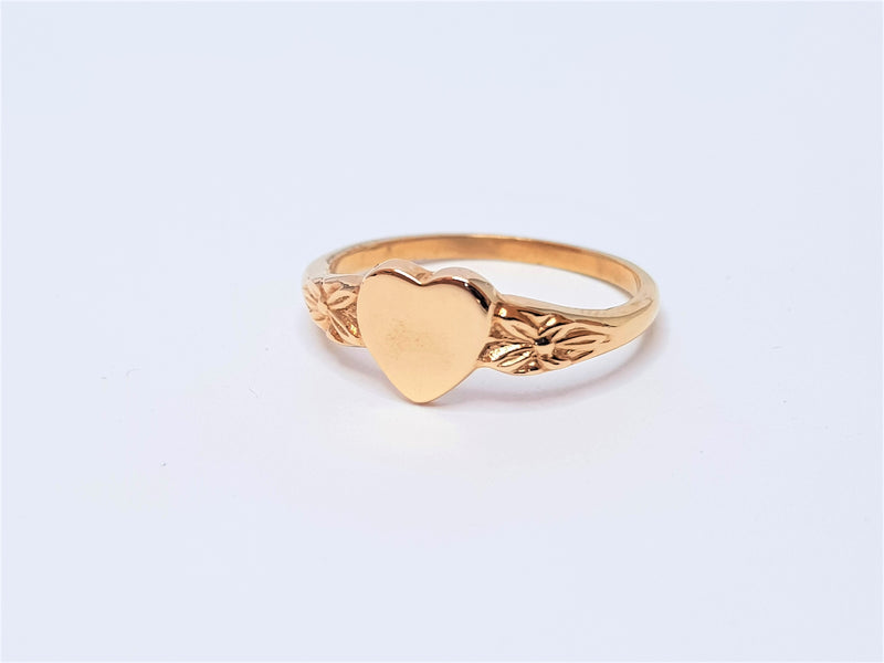 9ct Rose Gold Heart with Filigree Ring