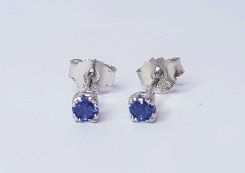Round Sapphire Multi Claw Sterling Silver Studs