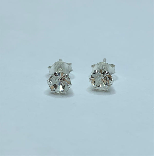 5mm Round Crystal Sterling Silver Studs