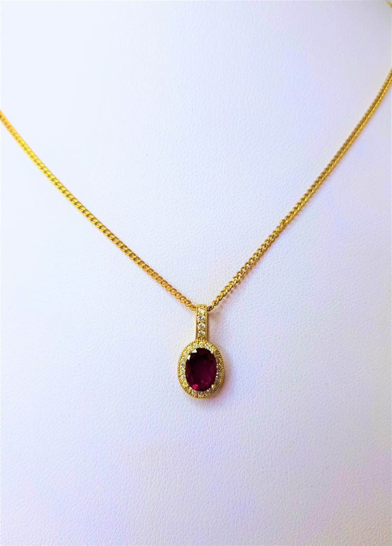 9ct Yellow Gold Oval Ruby with Bead Set Diamond Halo Pendant