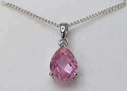 Faceted Pink CZ Pear Sterling Silver Pendant