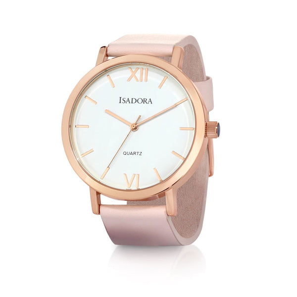 Merida by Isadora Rose Roman Accent Dial with Pink Soft leather Strap Watch