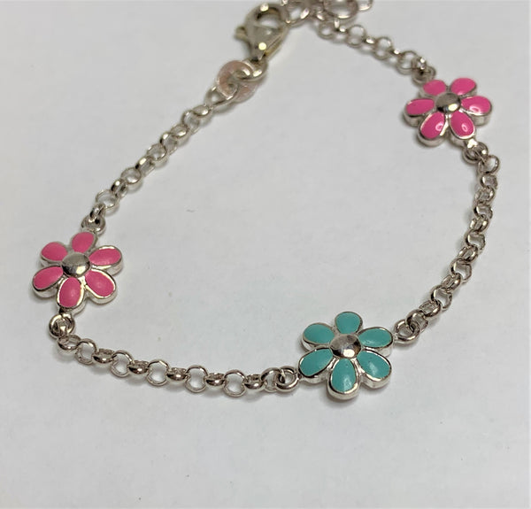 Coloured Flower Sterling Silver Bracelet