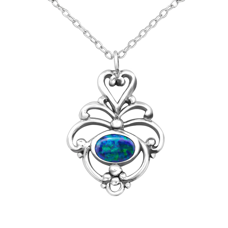 Peacock Opal (syn) Bezel Set Sterling Silver Pendant and Chain