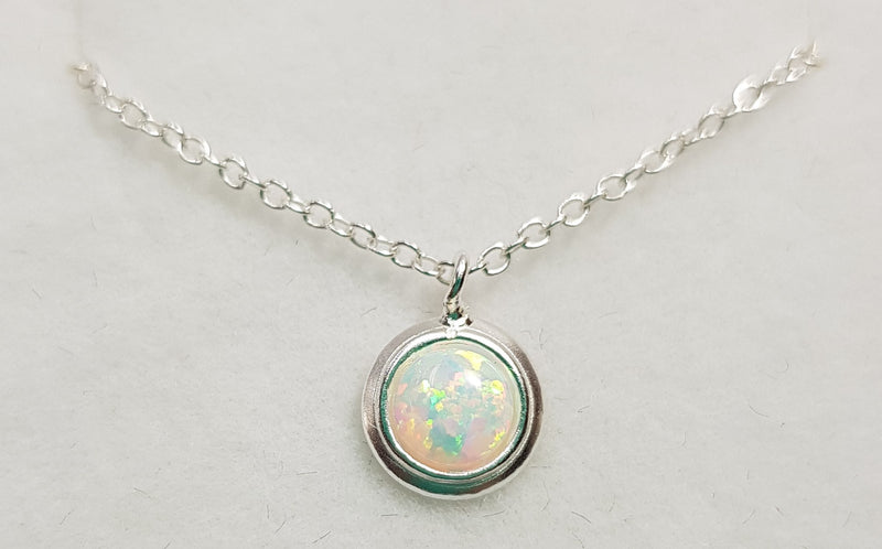 Opal (Syn) Fire Snow Sterling Silver Pendant