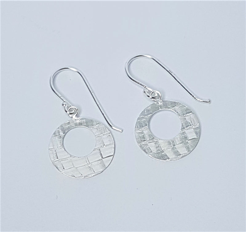 Round Diamond Cut Sterling Silver Hoop Earrings