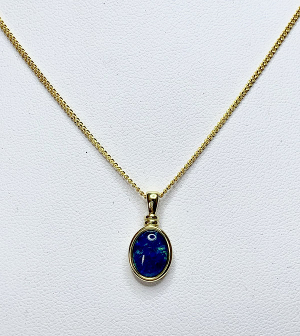 Opal Triplet Oval Gold Plated Bezel Set Pendant