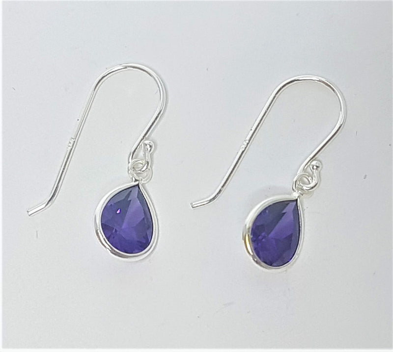 Cubic Zirconia Purple Teardrop Sterling Silver Shepherd Hooks