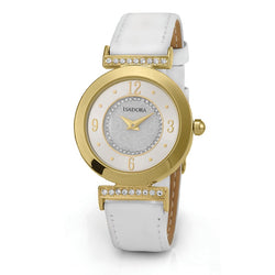 Altea by Isadora Gold Tone Case Crystal Set with White Leather Strap Watch